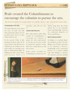 A page from American Art Volume II about Peale by Kristin Draeger