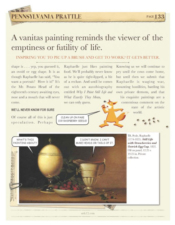 A page on vanitas painting from American Art Volume II by Kristin Draeger
