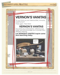A faux advertisement on vanitas painting from American Art Volume II by Kristin Draeger