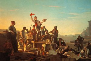 George Caleb Bingham's Jolly Flatboatmen in Port