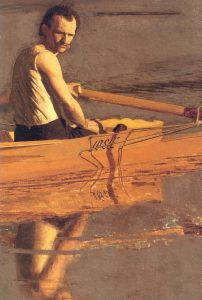 Max Schmitt in a Single Scull, Detail, by Thomas Eakins