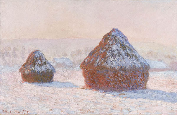Wheatstacks, Snow Effect, (Morning) 1890-91. Oil on canvas. J. Paul Getty Museum, Los Angeles, California.