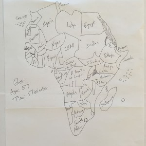 The husband, age 57, draws Africa