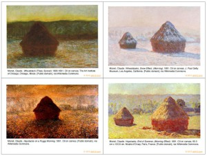 Card faces from Monet Haystack Matching game