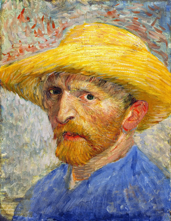 Self-Portrait with Straw Hat Summer 1887, Oil on pasteboard, 24.9 × 26.7cm, Detroit Institute of Arts