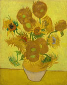Sunflowers repetition of the 4th version (yellow background), Oil on canvas, 95 × 73cm, Van Gogh Museum, Amsterdam, Netherlands.