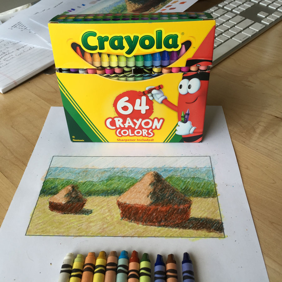 Crayola box of 64 with crayons and drawing of Monet's Haystack
