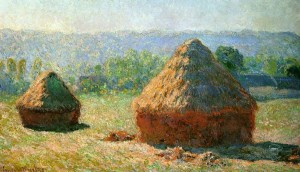 Monet, Claude. Haystacks, End of Summer, (Morning Effect). 1891. Oil on canvas, 60.5 cm x 100.8 cm. Musée d'Orsay, Paris, France. [Public domain], via Wikimedia Commons.