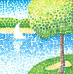 Seurat Pointillism Watercolor Project