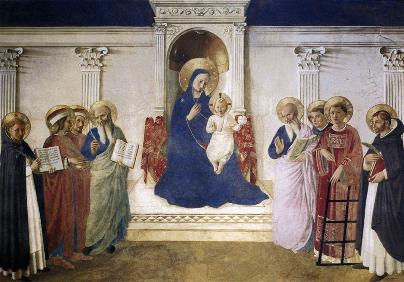 The Madonna enthroned with Saints Cosmas and Damian, Saint Mark and Saint John, Saint Lawrence and three Dominicans, Saint Dominic, Saint Thomas Aquinas and Saint Peter Martyr; San Marco, FlorenceFra Angelico (1395–1455)1437-1446fresco