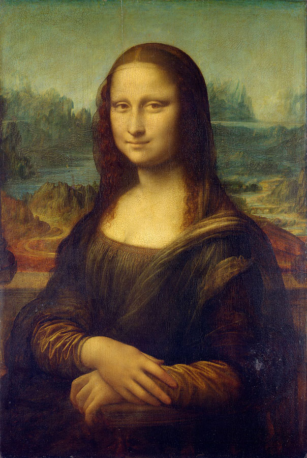 Mona LisaLeonardo da Vinci (1452–1519)77 cm × 53 cm (30 in × 21 in)oil on poplar wood1503 - 1506