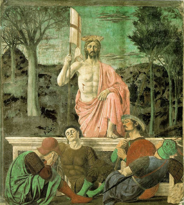 The Resurrection of Jesus ChristPiero della Francesca (1420–1492)Mural in fresco and tempera225 × 200 cm (88.6 × 78.7 in)1463