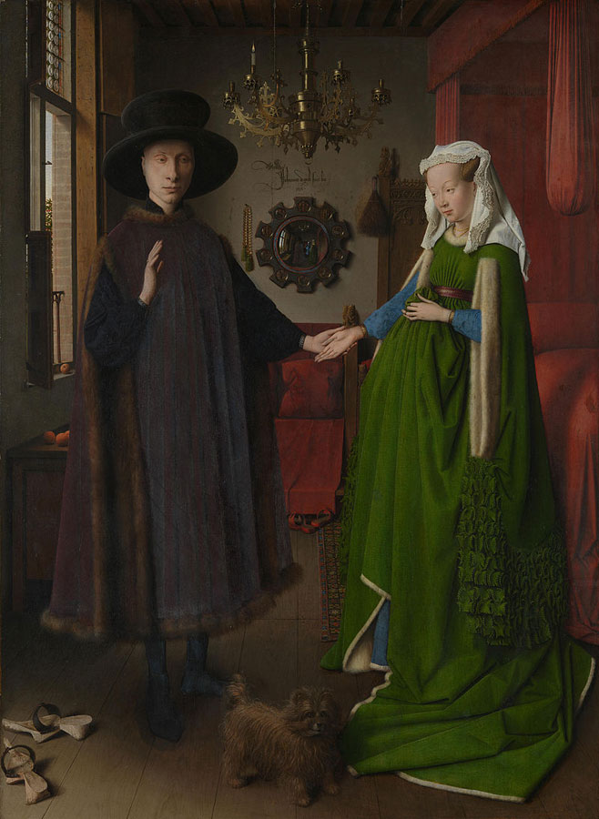 The Arnolfini PortraitJan van Eyck (1390–1441)oil on panel82 × 59.5 cm (32.3 × 23.4 in)1434