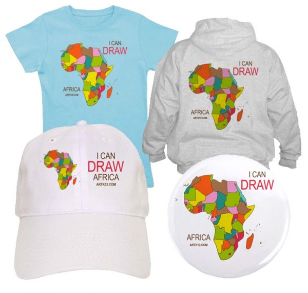 I Can Draw Africa Shirts, Hats and Buttons