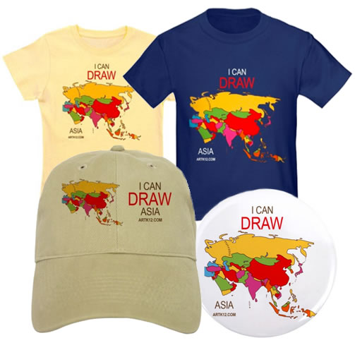 I Can Draw Asia Shirts, Hats and Buttons