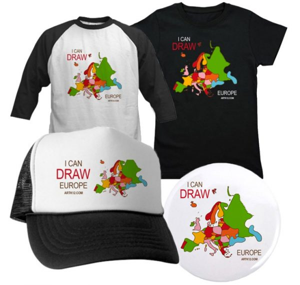 I Can Draw Europe: Shirts, Hats, Buttons