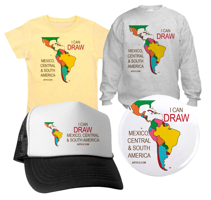 I Can Draw Mexico, Central & South America Shirts, Hats & Buttons