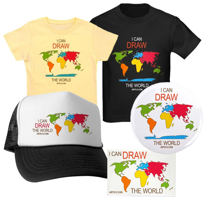 I Can Draw the World T-shirts, Hats, Magnets & Buttons