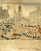 Paul Revere, 1734-1818, The Bloody Massacre, 1770, Engraving with watercolor, 25.8 x 33.4 cm. (plate)