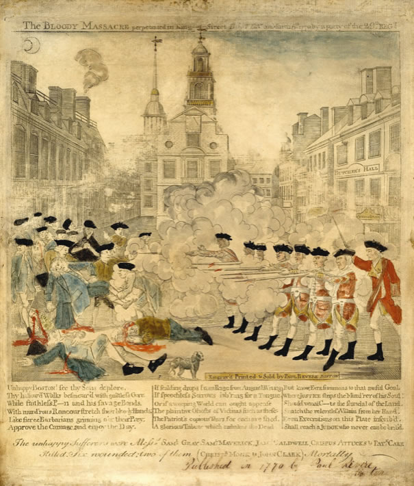 Paul Revere1734-1818The Bloody Massacre1770Engraving with watercolor25.8 x 33.4 cm. (plate)