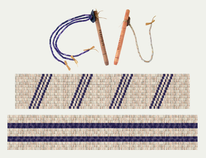 Iroquois CultureWampum Strings, Coming of the White Faces Wampum Belt, and Two Row Wampum TreatyOriginals made of shell, sinew, wood and leather