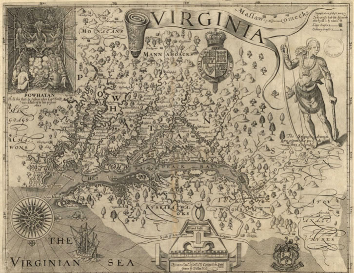 John SmithVirginia, Discovered and Discribedby Captayn John Smith (sixth state) London: William Hole1624Engraved map32 1/4 x 46 1/4