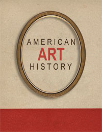 A beige and red card cover. American Art History 1