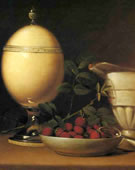 Raphaelle Peale, 1774-1825, Still Life with Strawberries and Ostrich Egg Cup, 1822, Oil on panel, 12.25 x 19.25 in.