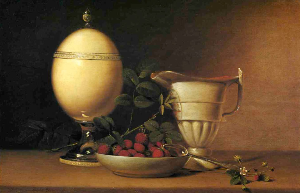 Raphaelle Peale1774-1825Still Life with Strawberries and Ostrich Egg Cup1822Oil on panel12.25 x 19.25 in.