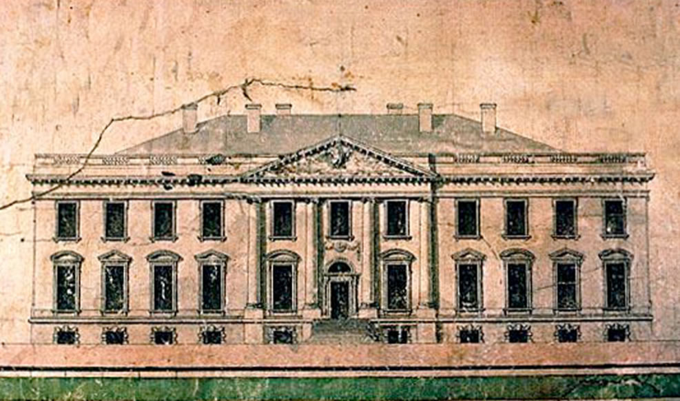 James Hoban Elevation of the North Side of the White House 1793 Progress drawing after having won the competition for architect of the White House