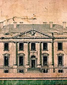 James Hoban,   Elevation of the North Side of the White House,   1793,   Progress drawing after having won the competition for architect of the White House