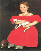 Ammi Phillips, Girl in Red Dress with Cat and Dog, 1830-35, Oil on canvas, 30 x 25 in.