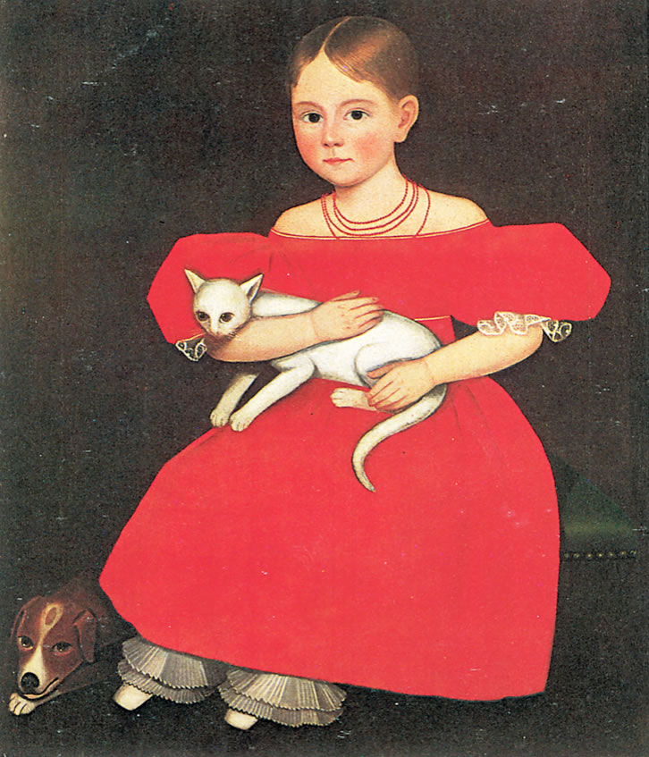 Girl in Red Dress with Cat and Dog