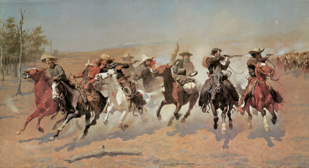 Frederic Remington1861-1909A Dash for the Timber1889Oil on canvas48 1/4 x 84 1/8 in.