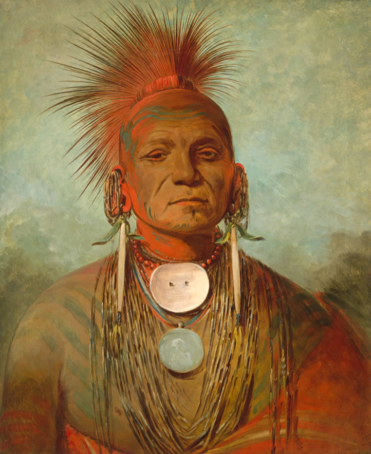 George CatlinSee-non-ty-aan Iowa Medicine Man1844-45Oil on canvas28 x 22 7/8 in.