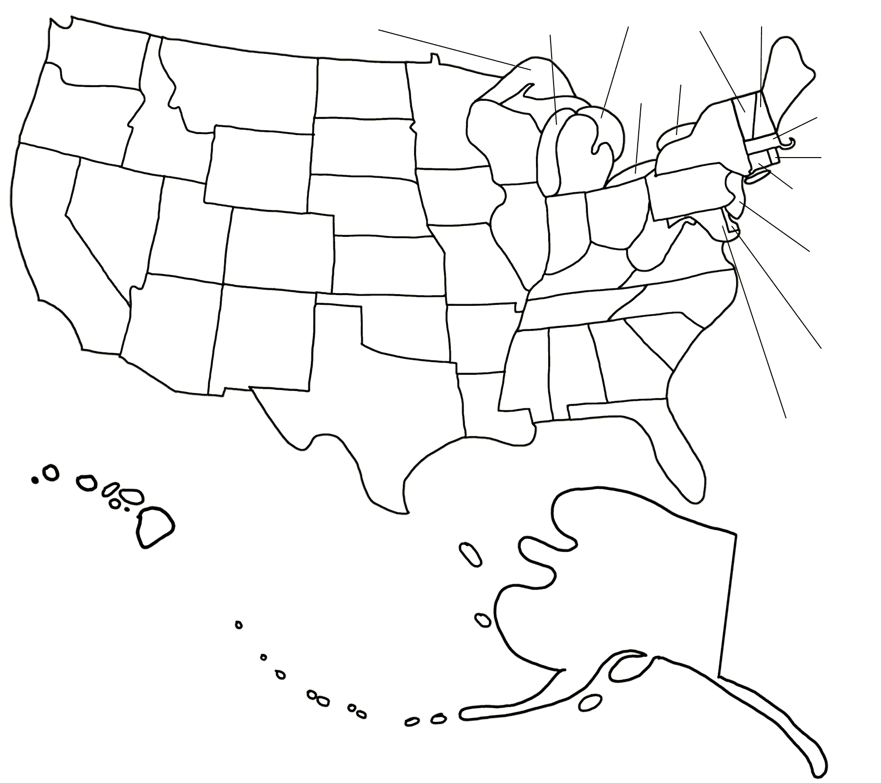 An outline of the states of the USA