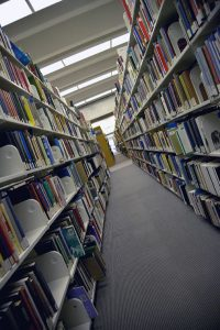 Book shelves at a public library