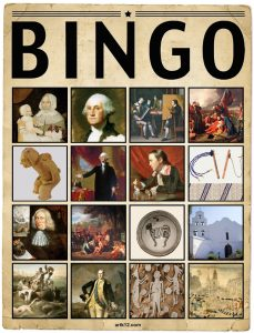 American Art Extra Bingo Card Volume I, Variation 1