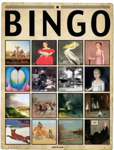 American Art Extra Bingo Card, Variation 15