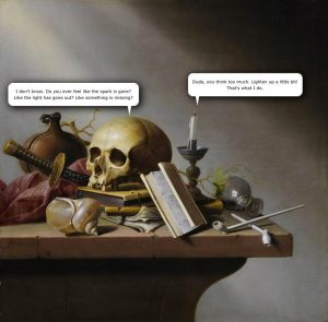 Vanitas by Harmen Steenwijck with Speech Bubbles
