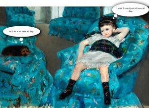 Little Girl in a Blue Armchair with Speech Bubbles