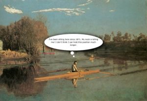 Max Schmitt in a Single Scull by Thomas Eakins with Thought Bubble