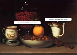 Still Life: Strawberries, Nuts &c by Raphaelle Peale with Speech Bubbles