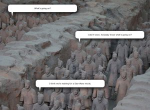 Terracotta Army Pit 1 with Speech Bubbles