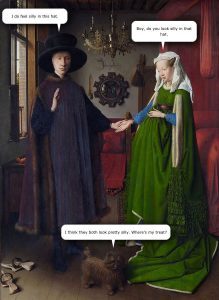 The Arnolfini Marriage by Jan van Eyck with Speech Bubbles
