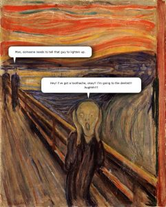 The Scream by Edvard Munch with Speech Bubbles