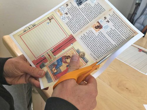 Cutting out the Bible verse card