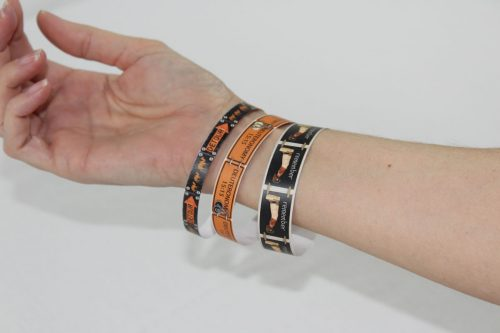 Fit them to your wrist and tape the ends together.
