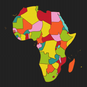 A map of Africa with dark background and colorful countries