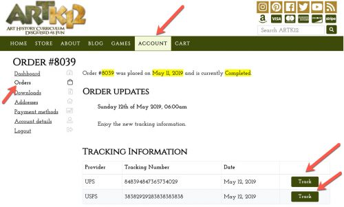 Shows ARTK12 shipment tracking in a customer's online ARTK12 account.
